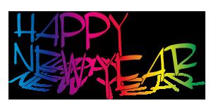 虹色の影付き「HappyNewYEAR」