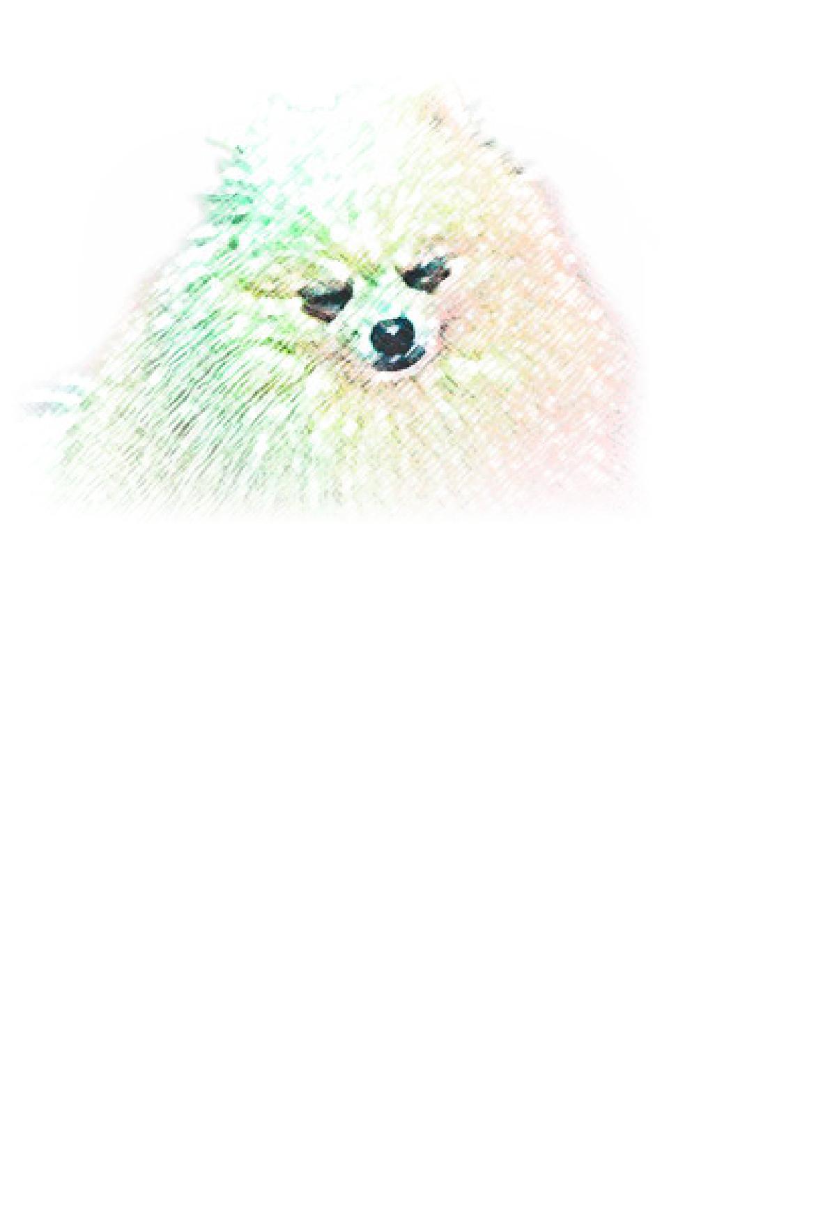 耳の長い犬のイラスト付き(縦書き)(文字なし)