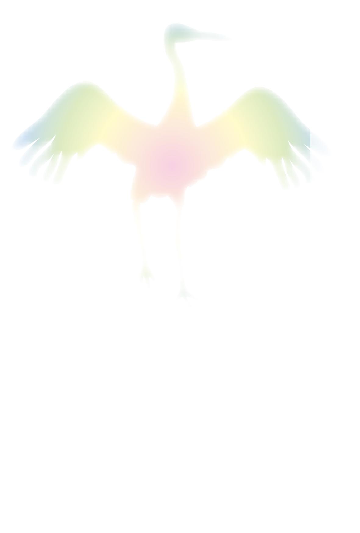 綺麗な色合いの鶴(ツル)が描かれた(文字なし)